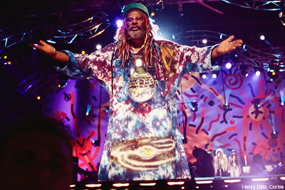 Clinton was inducted into the Rock and Roll Hall of Fame in 1997 with fifteen other members of  Parliament-Funkadelic .
