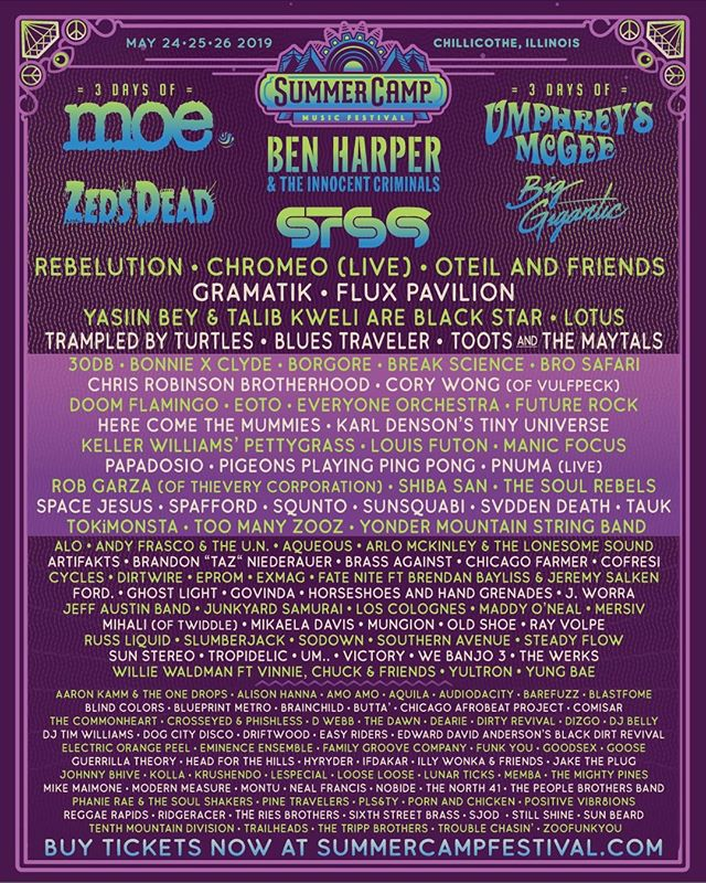 What up y'all let's friggin GO, announcing: @SummerCampMusicFestival this Memorial Day Weekend!  Three full days of fun, camping, art, and music with over 160 artists on 9 stages - including us, and, we hope, you!! Get tickets now at summercampfestival.com ! See you at #SCamp19!