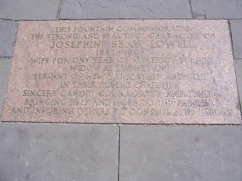 Inscription on the Josephine Shaw Lowell Memorial Fountain