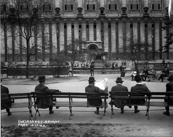 The Lowell fountain seen here in it's first location at the east end of the park, just behind the New York Public Library, 1922. Photo: NYC Transit Museum