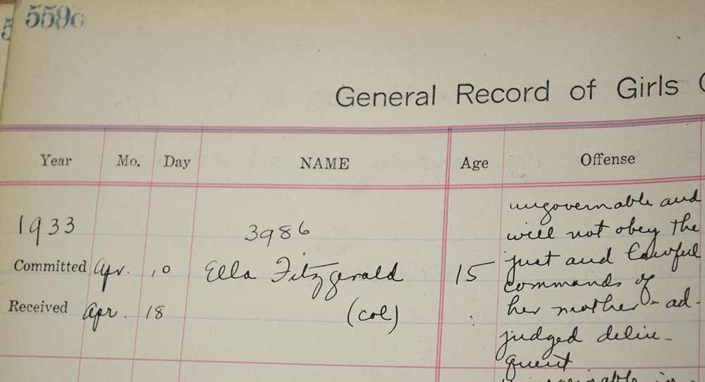 Ella Fitzgerald listed in the New York State Training School for Girls logbook