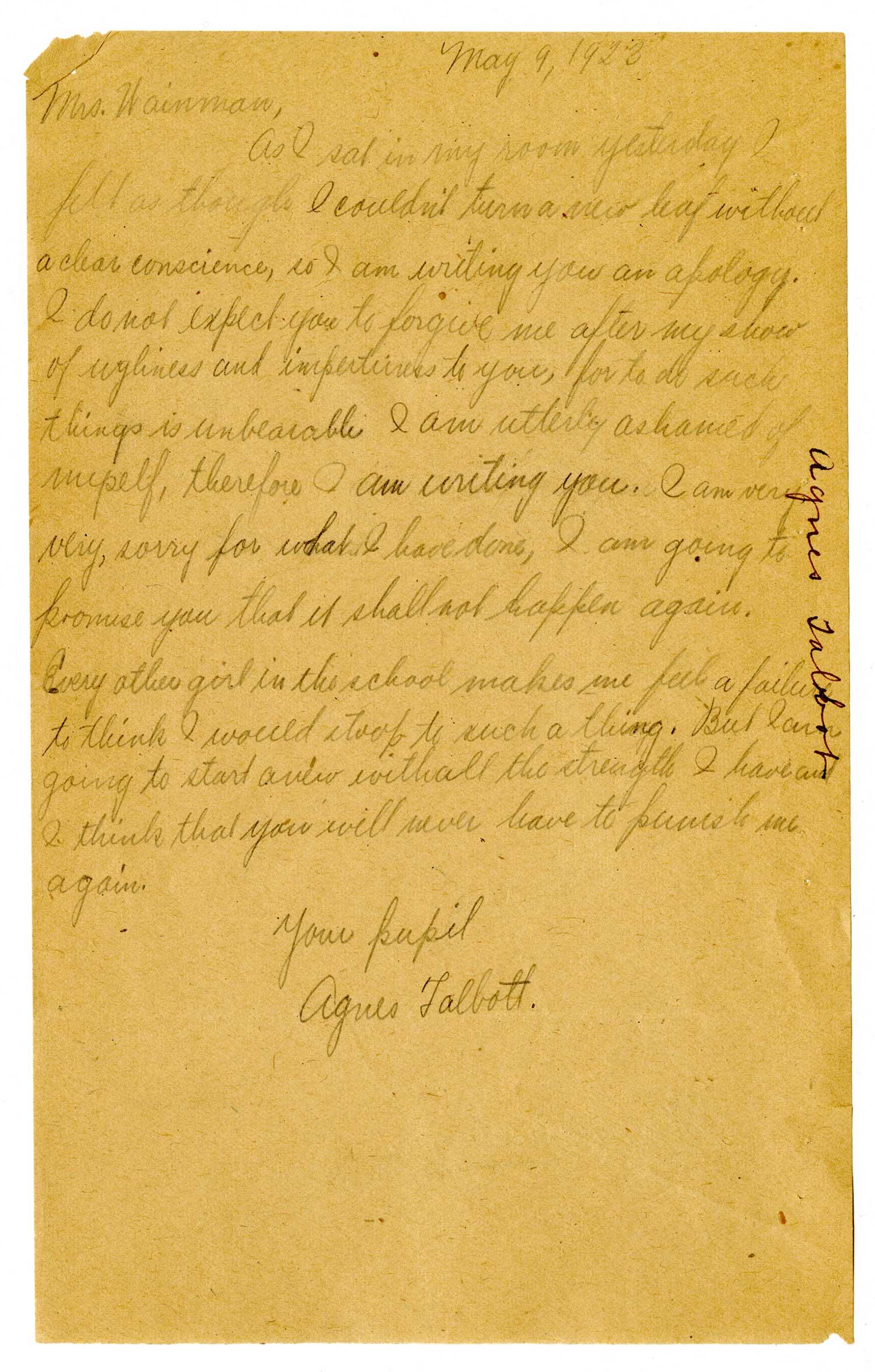 Correspondence from Agnes Talbott, NY State Training School for Girls, Hudson, NY (May 9, 1923)