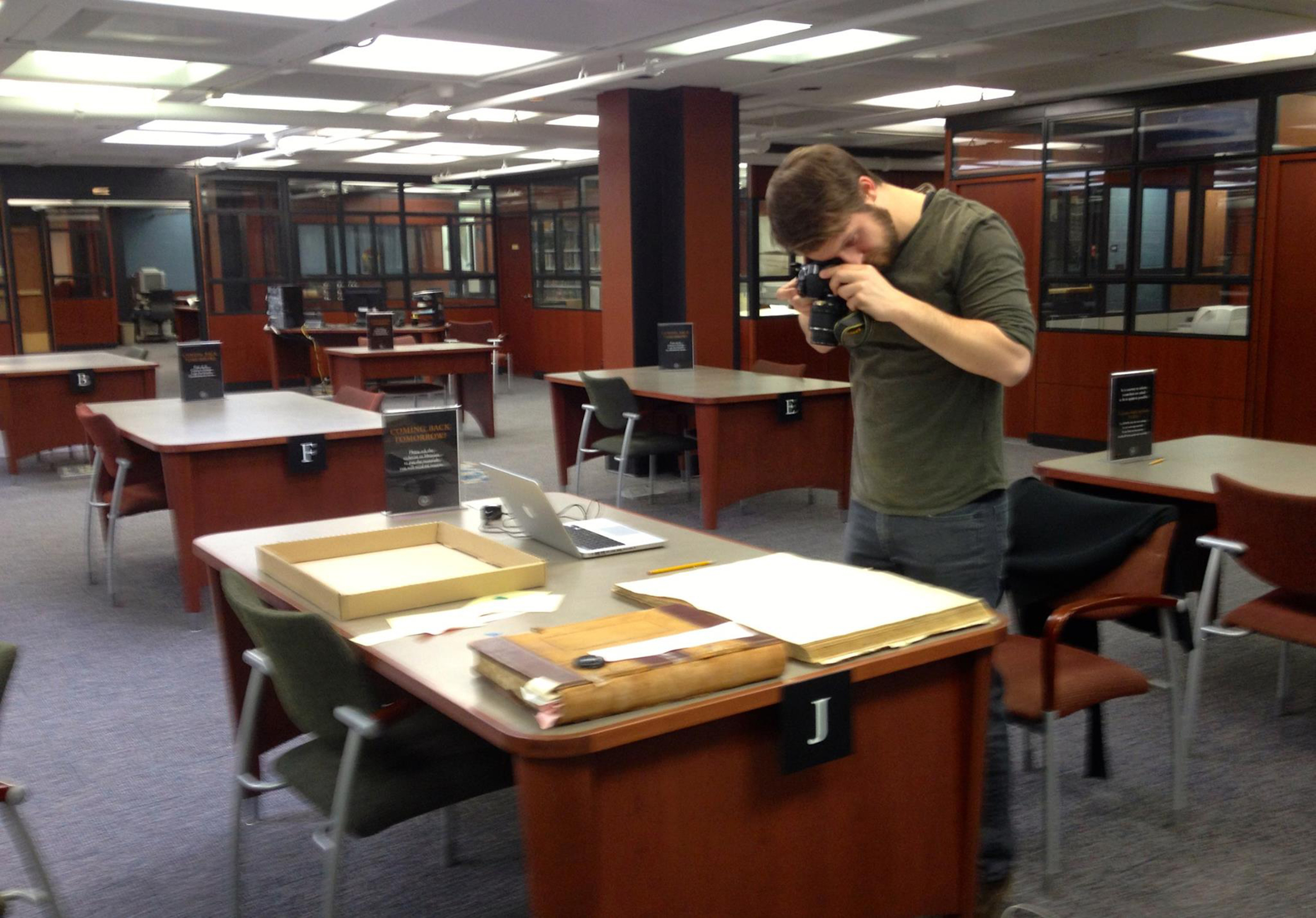 Brian Buckley conducts research in the New York State Archives
