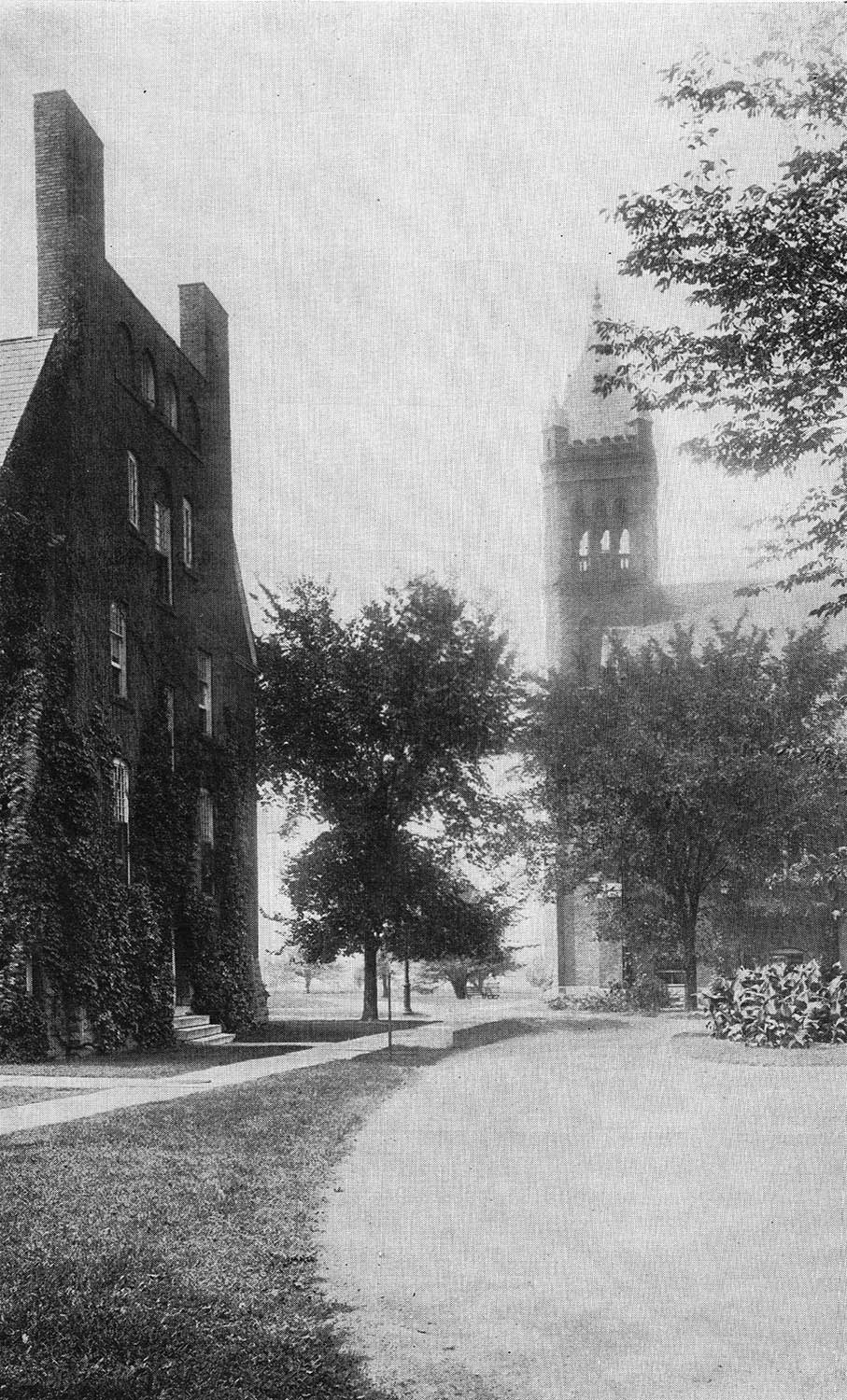 On the right: the chapel at the Girls' Training School, as one would see it from the front entrance.