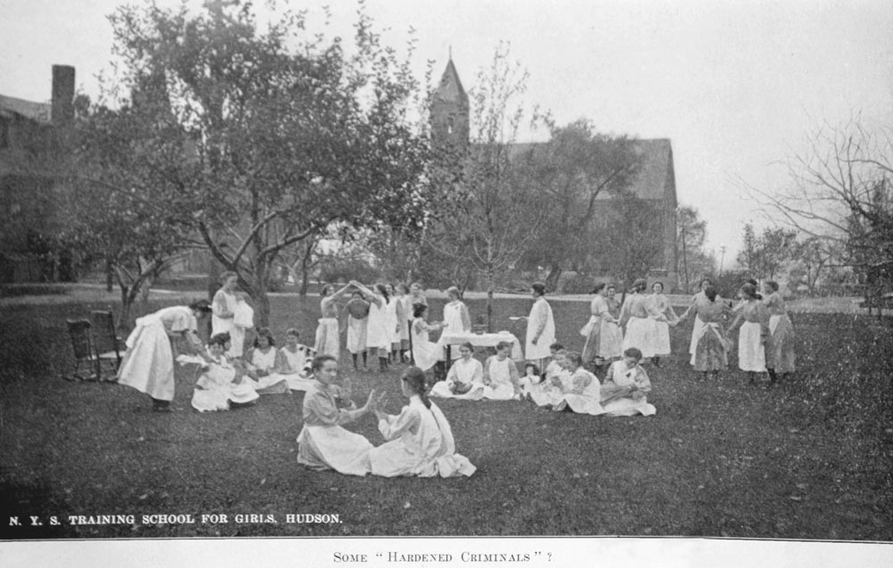 """From a photograph of the NYS Training School for Girls, Hudson, NY in the institution's annual reports. The caption reads: """"Some 'Hardened Criminals'?"""""""