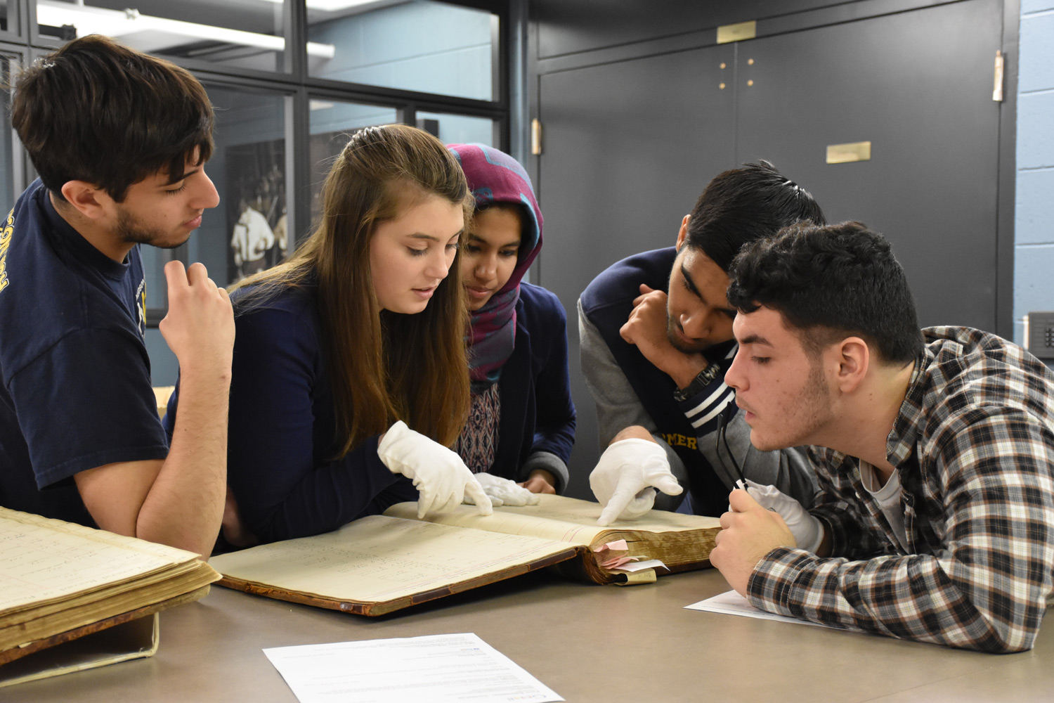 Hudson High School Students at the New York State Archives
