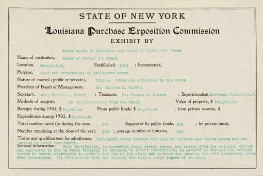 Louisiana Purchase Commission for the House of Refuge for Women in Hudson, NY