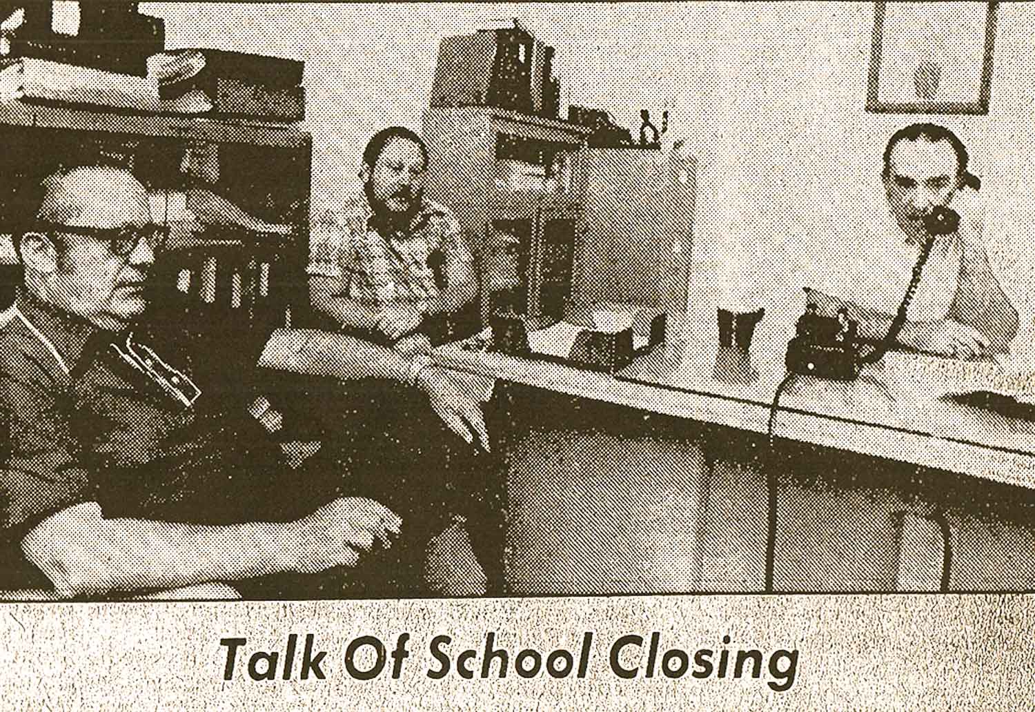 The Training School's final superintendent, George Dolecal (right), fields questions from reporters about the School's possible closure. Source: Hudson  Register-Star , August 11, 1975.