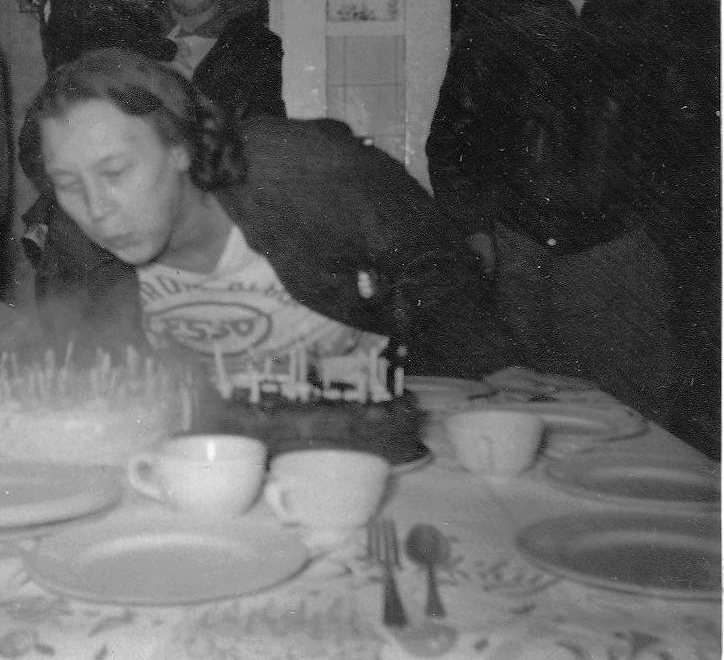 Hilda at her birthday in 1957.