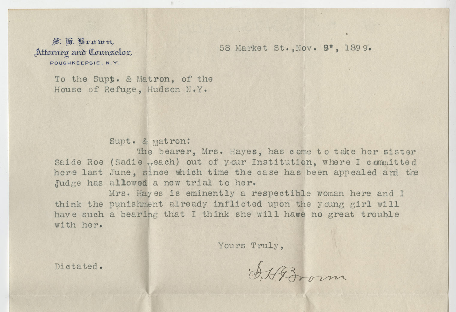 Maud Veach letter to superintendent, House of Refuge for Women, Prison Public Memory Project