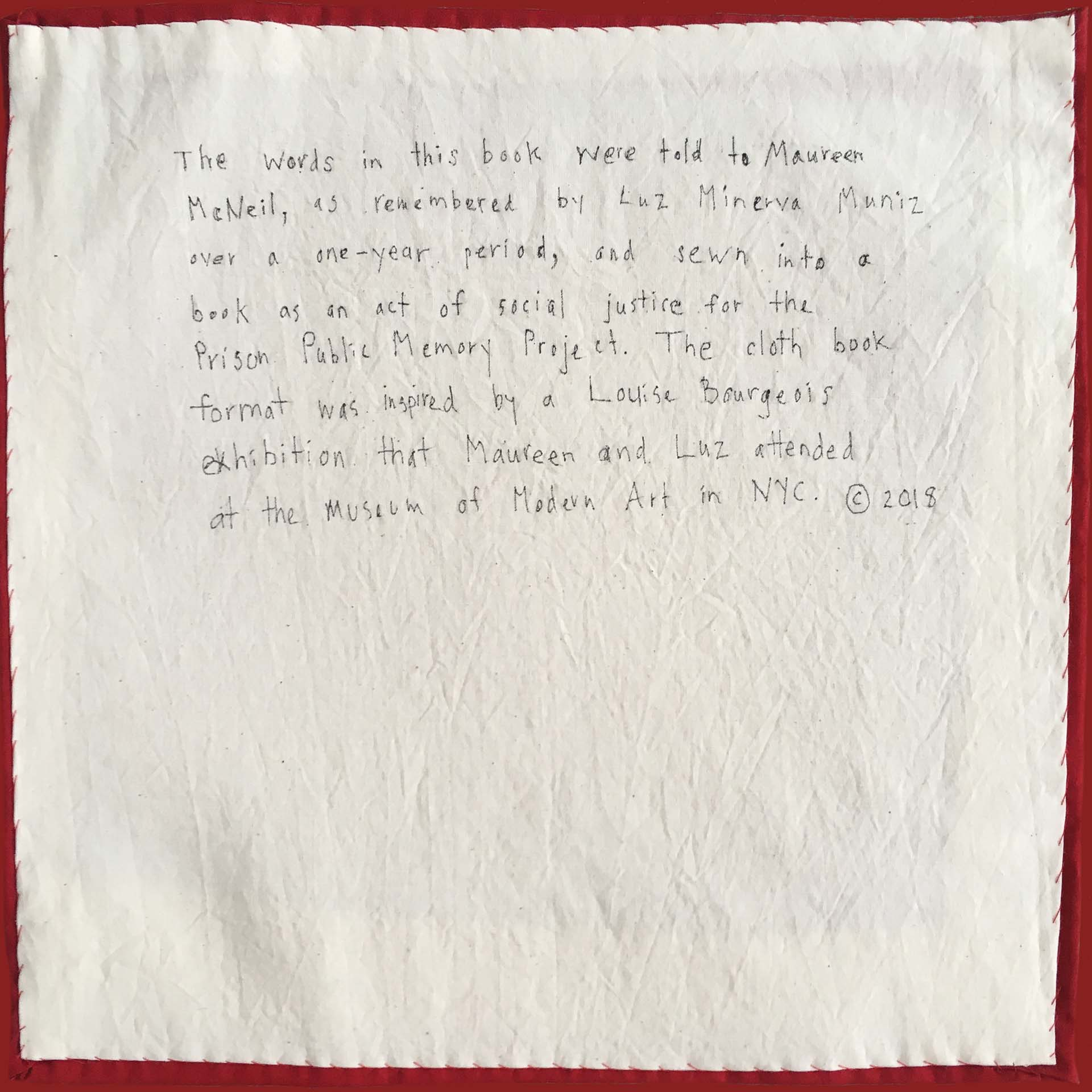 Dedication Page in  The Cloth Book  by Luz Minerva Muniz