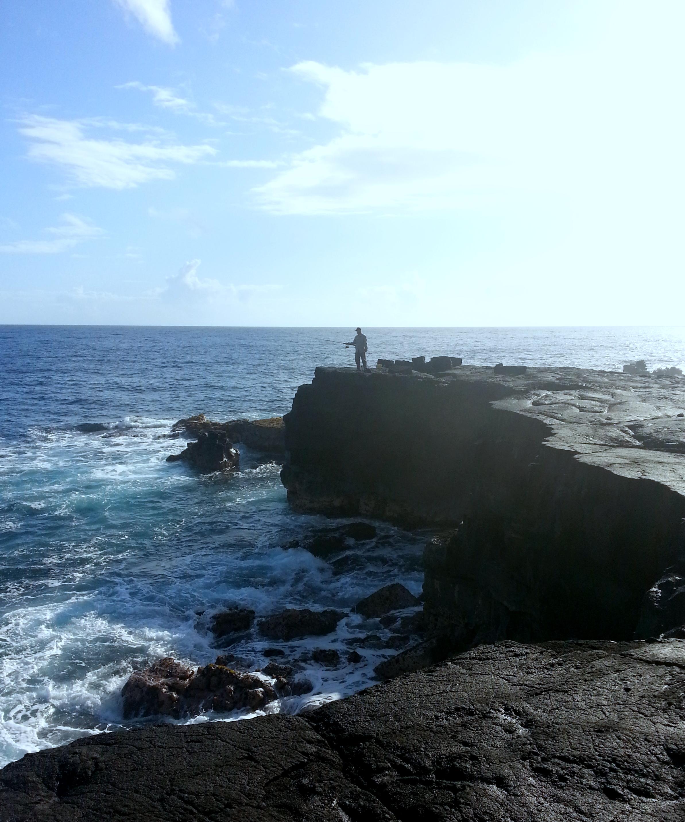A crazy fisherman at Kaloli Point. Hawaiʻi. 2010.
