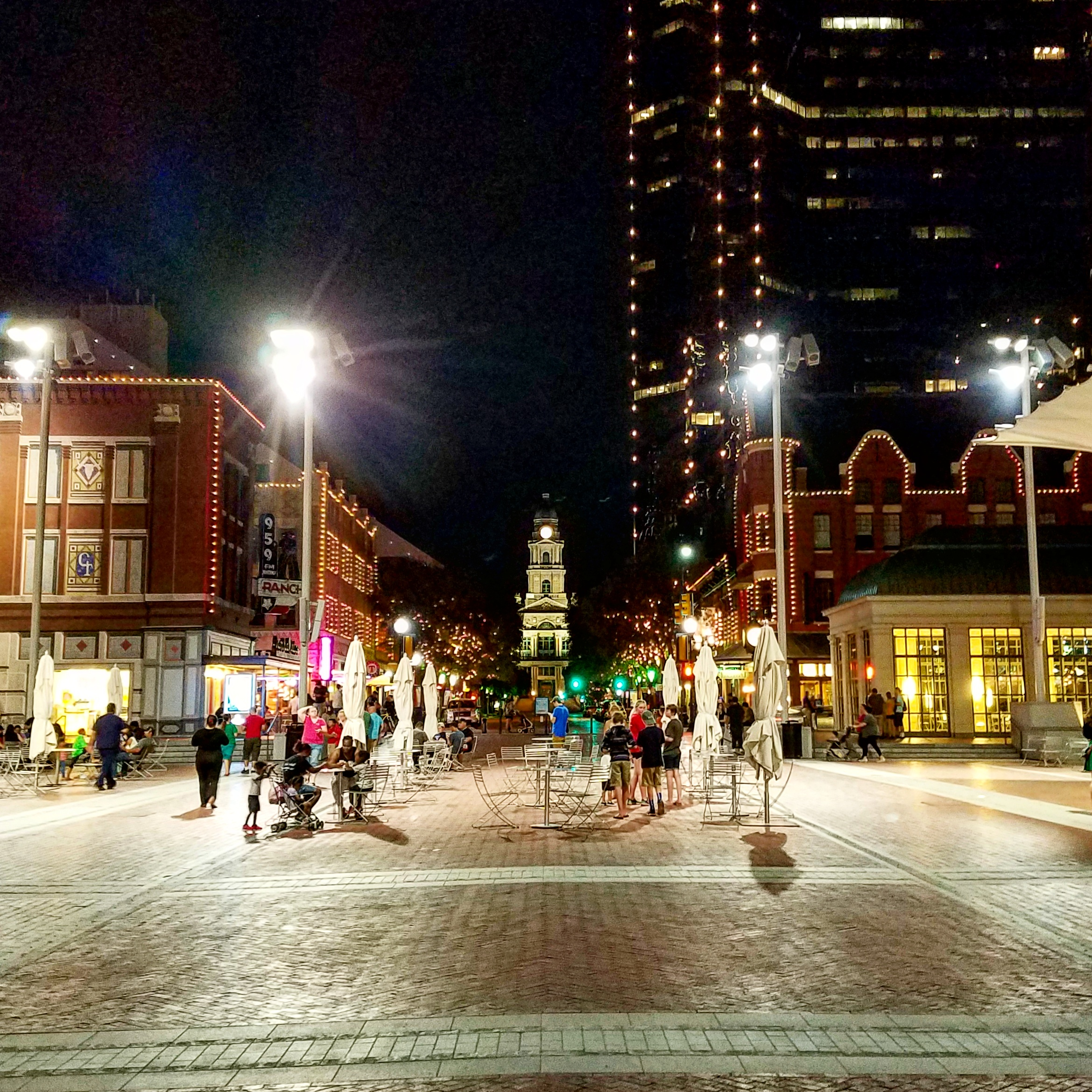 Sundance Square the night I moved to Fort Worth. August 2016.