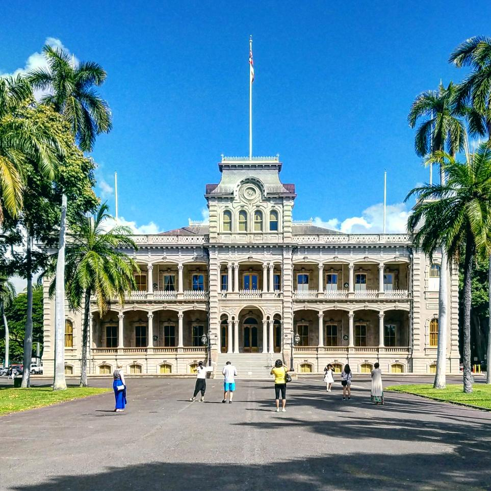 'Iolani Palace in Honolulu, Hawai'i. January 2018.