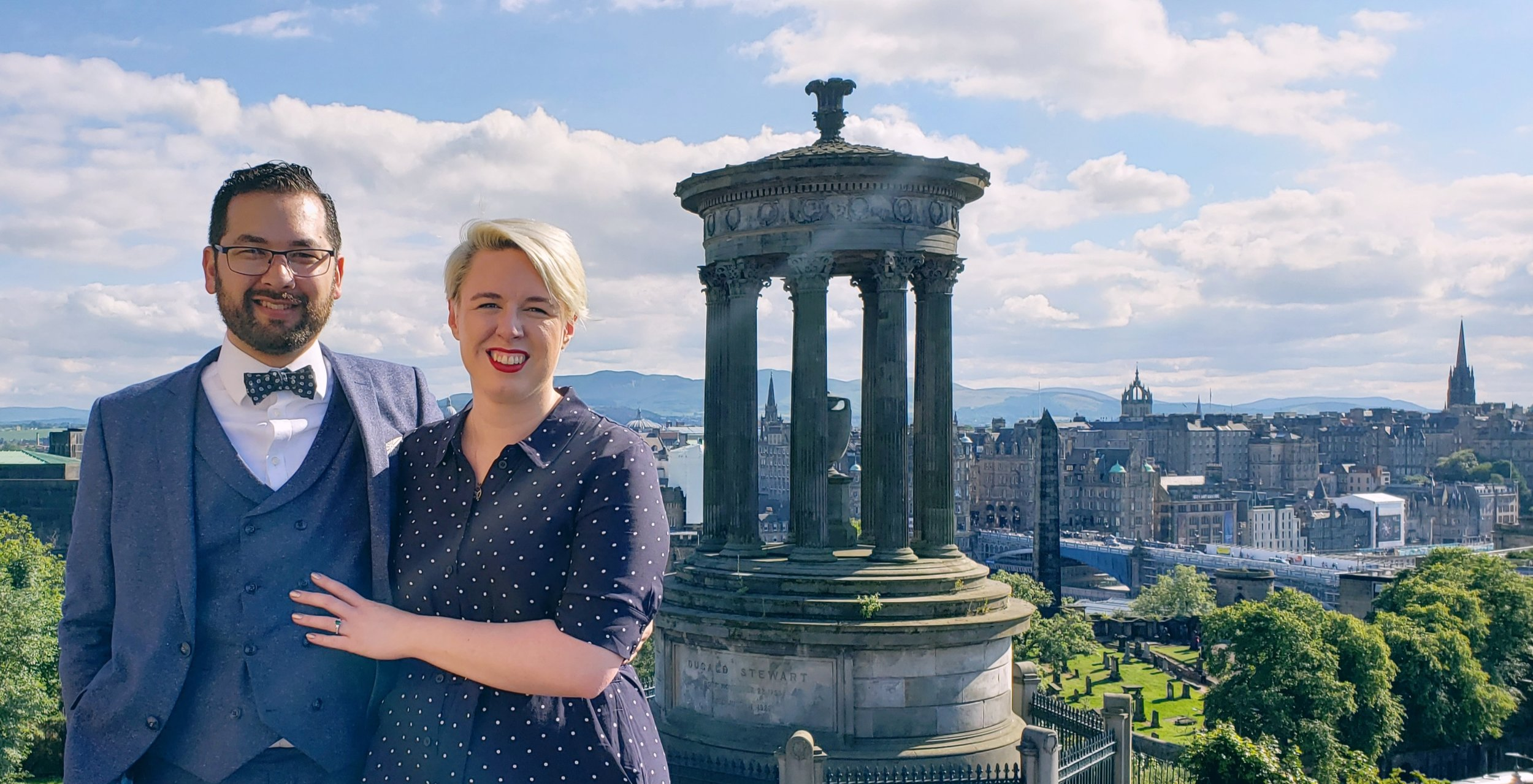 Eimear and I after getting engaged in Edinburgh, Scotland. July 2019.