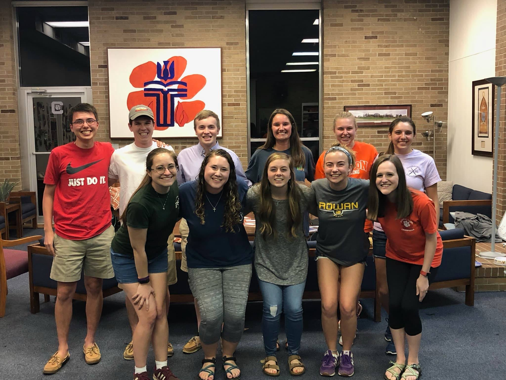 Top Row:  Ethan Wescoat (Fundraising), Scott Northup (Outreach), Freddy Matney (Music), Reid Sutton (Intramural), Emily Madsen (Community), and Kayla Bigham (Moderator)   Bottom Row:  Kate Mills (Vice Moderator), Kaitlyn Truesdale (Media), Bridget Wilson (Mission), Maddy Cost (Fellowship), and Allison Horres (Worship)