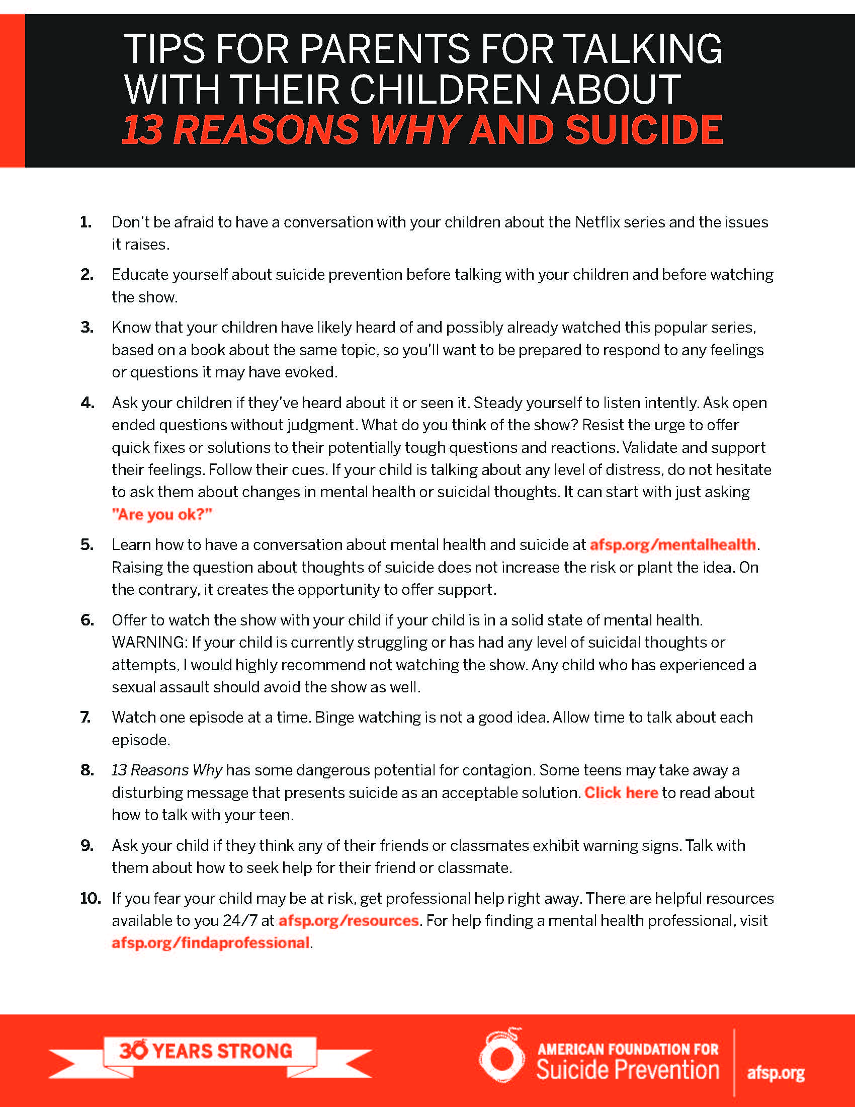 "Tips for parents for talking with their children about the Netflix series ""13 Reasons Why"" and suicide (.pdf)"