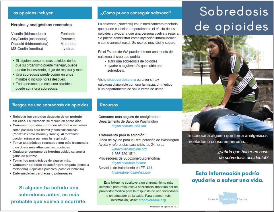 Download and print the Sobredosis de opioides brochure (.pdf)