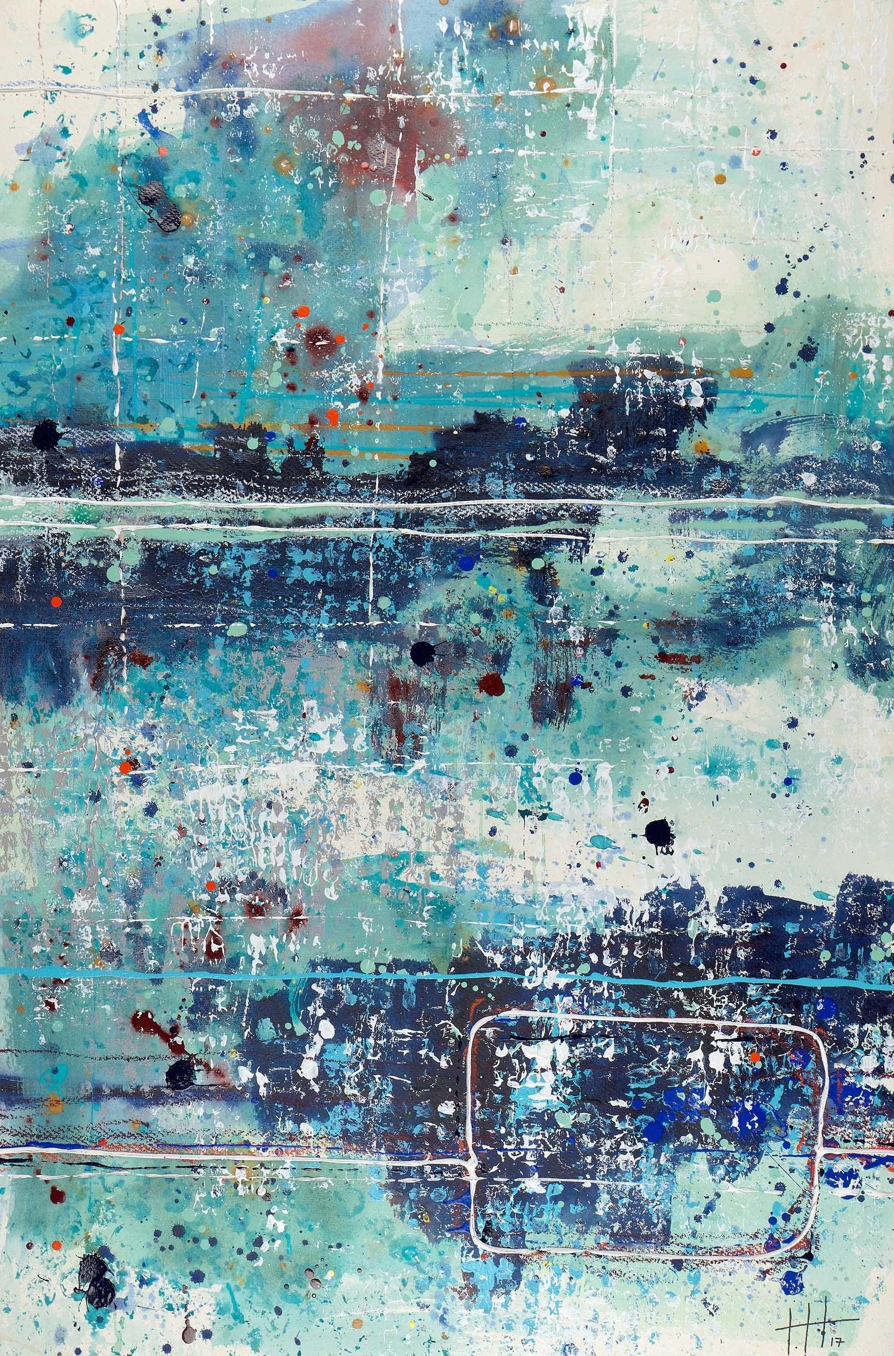 'Untitled' Acrylic & Mixed Media / 55cm x 55cm (framed) SOLD