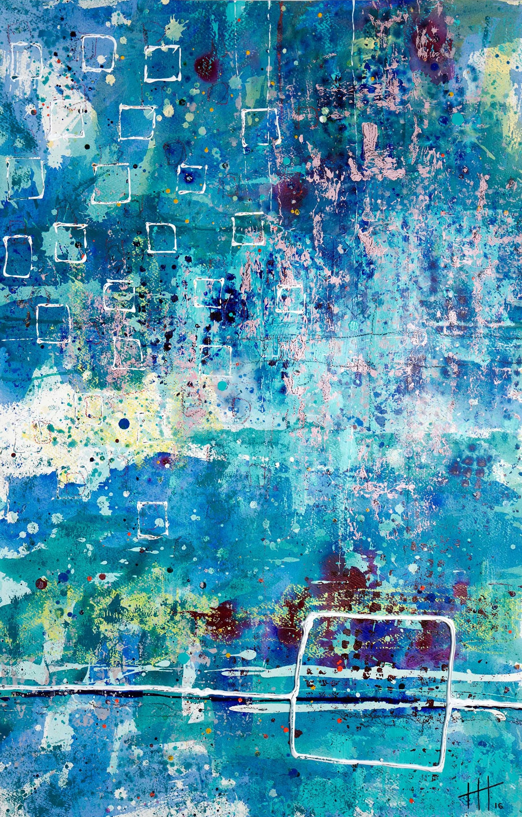 'Swimmers in The River' Acrylic & Mixed Media / 129cm x 93cm (framed) SOLD