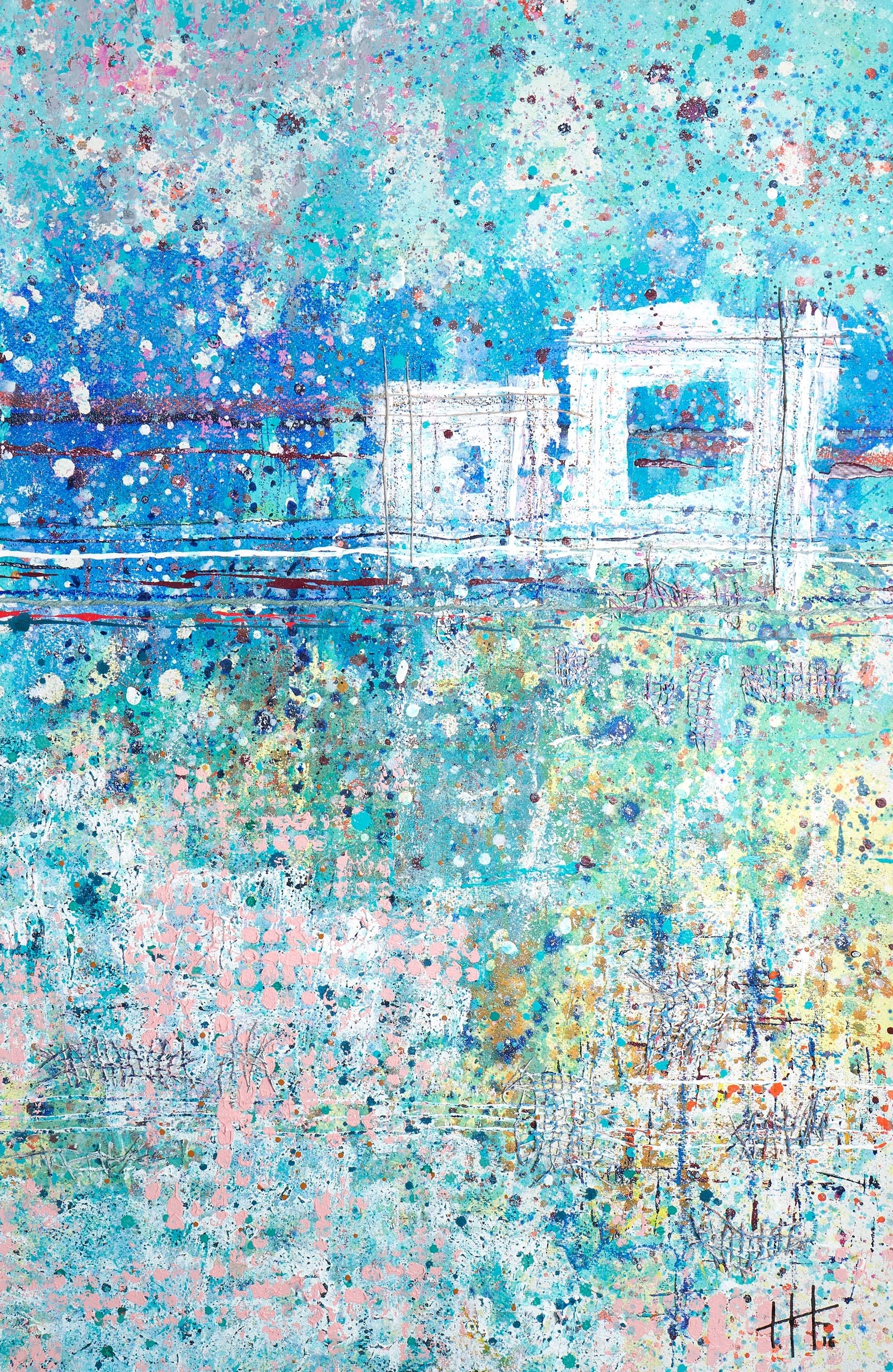 'The Walk to Lands End' Acrylic & Mixed Media /129cm x 93cm (framed) SOLD