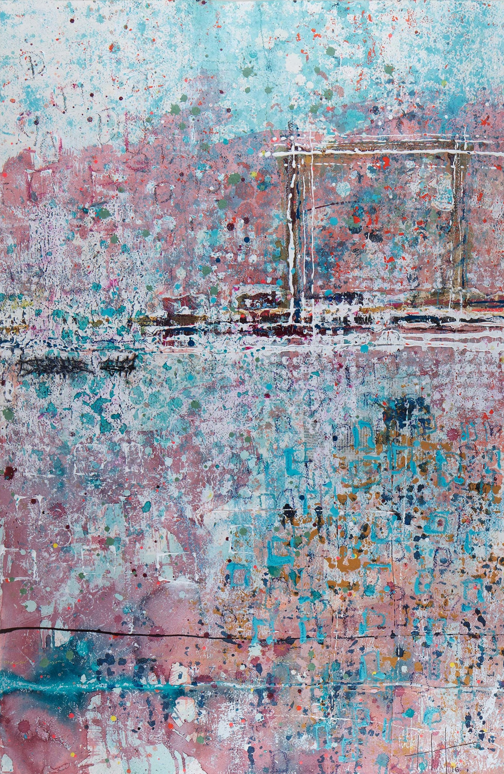 'Striding Out' Acrylic & Mixed Media /129cm x 93cm (framed) SOLD