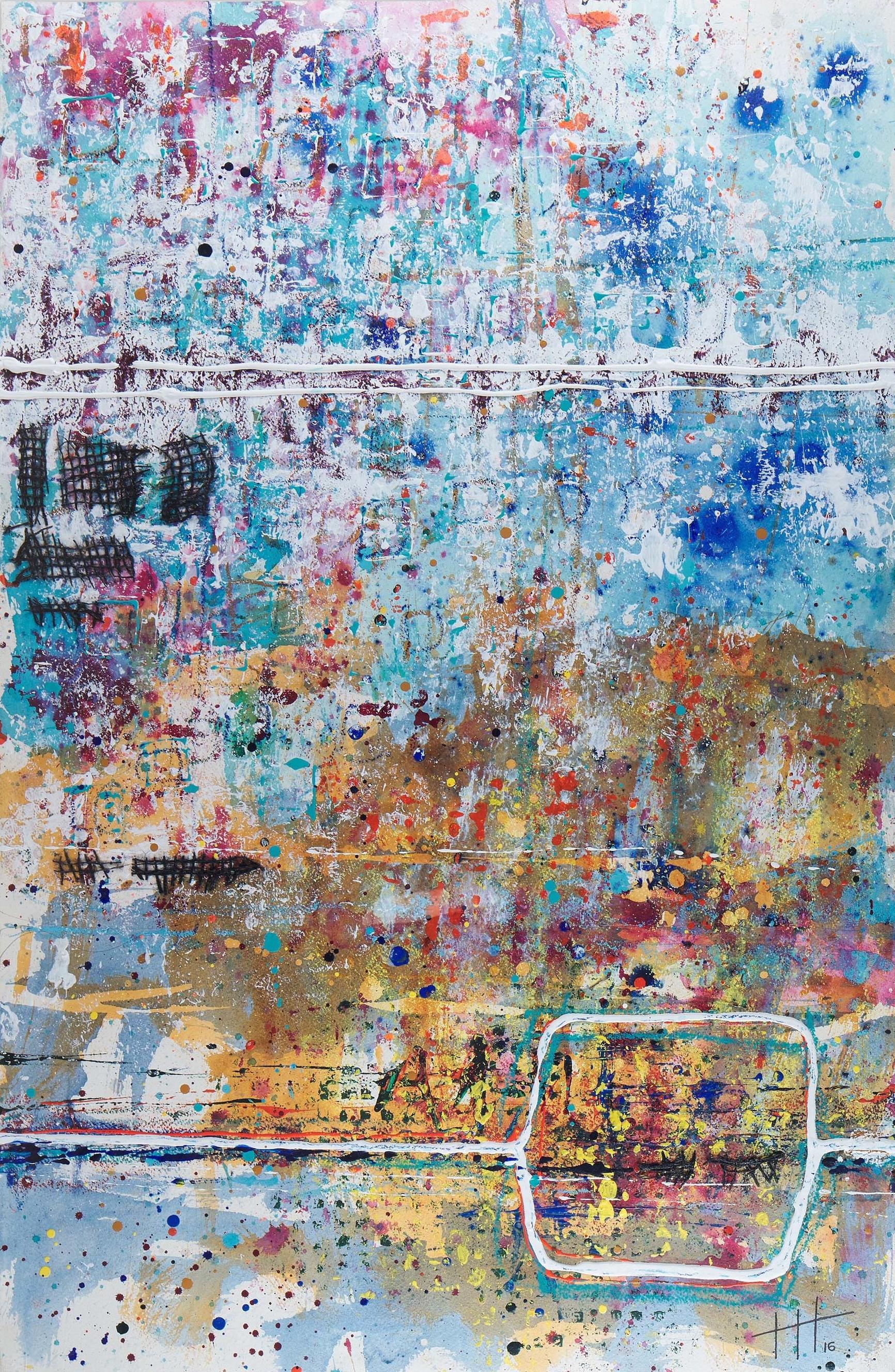 'Zennor' Acrylic & Mixed Media /129cm x 93cm (framed) SOLD