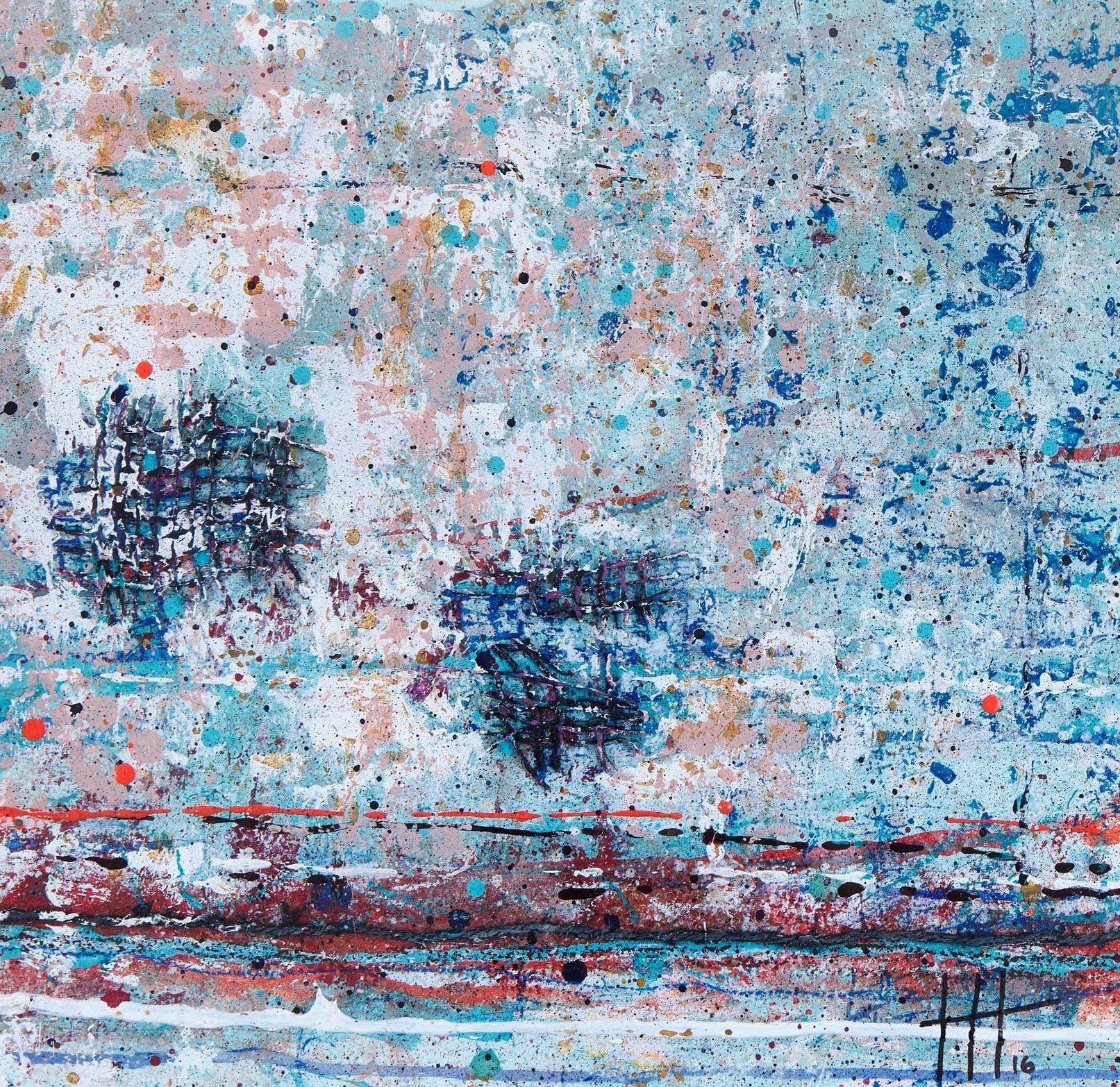 'High Tide' Acrylic & Mixed Media / 50cm x 50cm (framed) SOLD