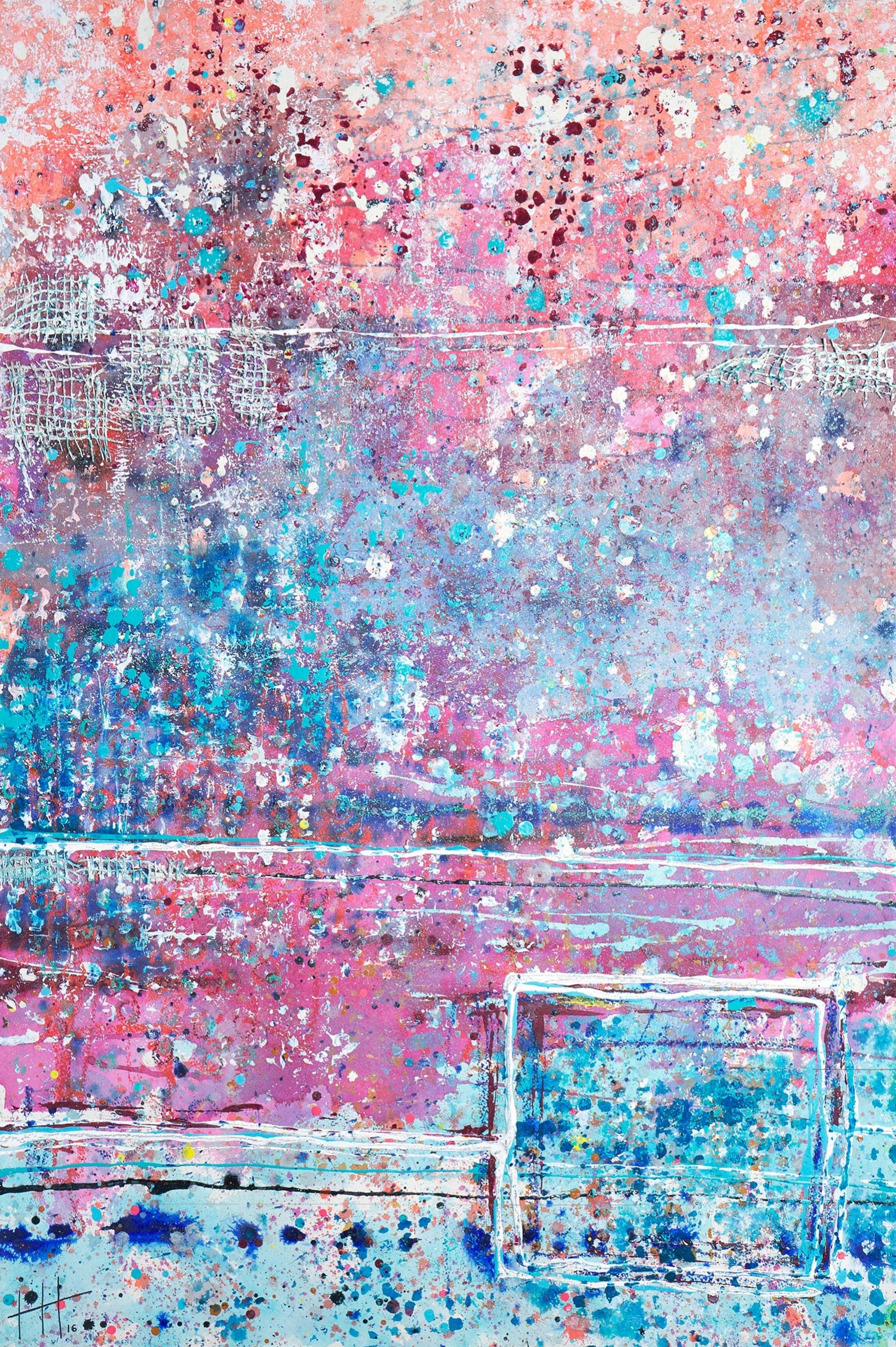 'Swimming Off The Slipway' Acrylic & Mixed Media /129cm x 93cm (framed) SOLD