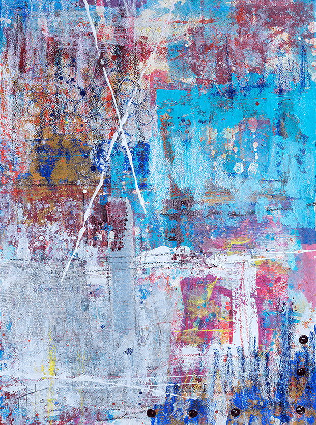 'Looking Down' Acrylic +mixed media / 117cm x 93cm (framed) SOLD