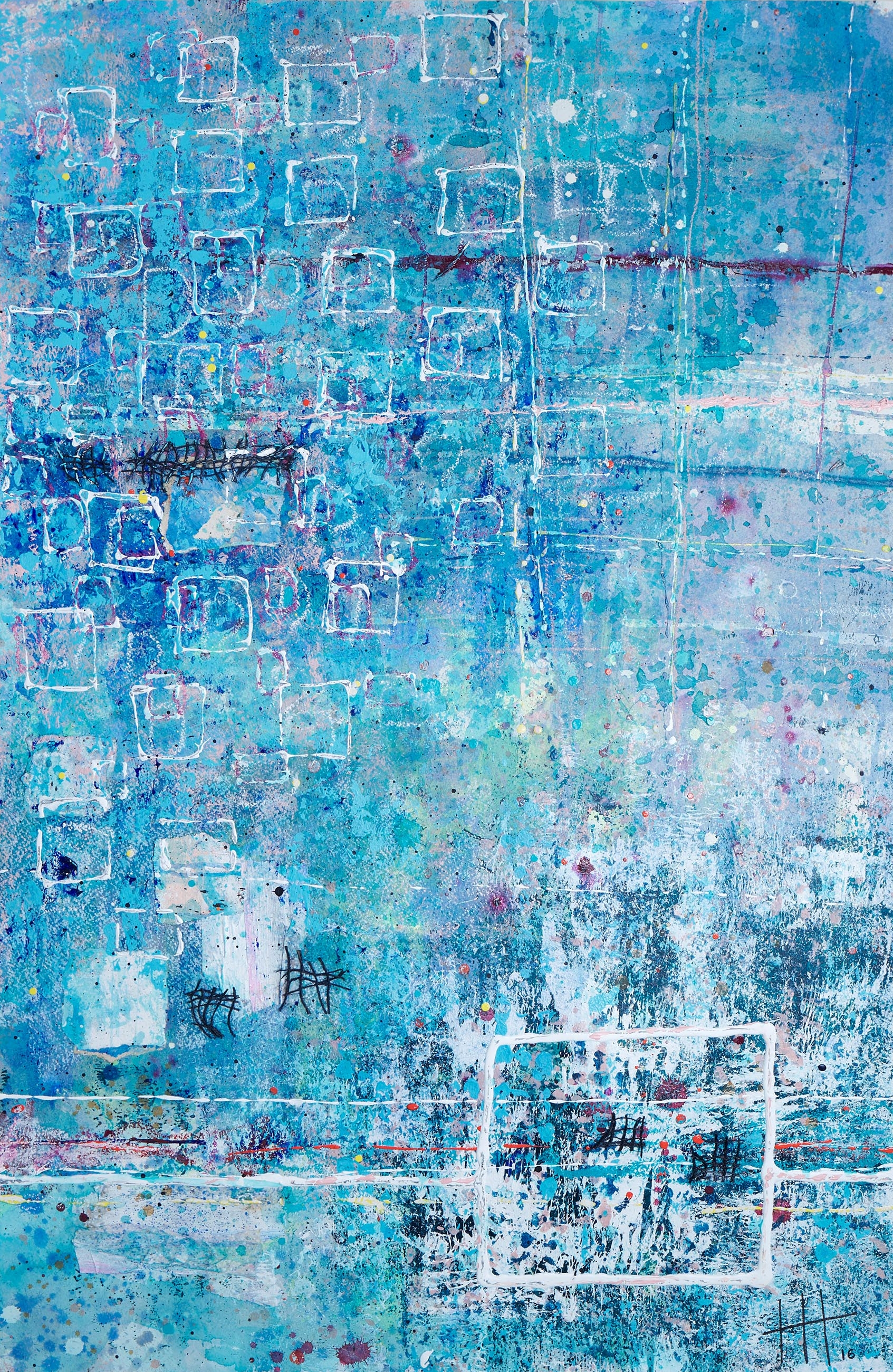 'The Day We Swam In the Sea'' Acrylic & Mixed Media / 129cm x 93cm (framed) SOLD