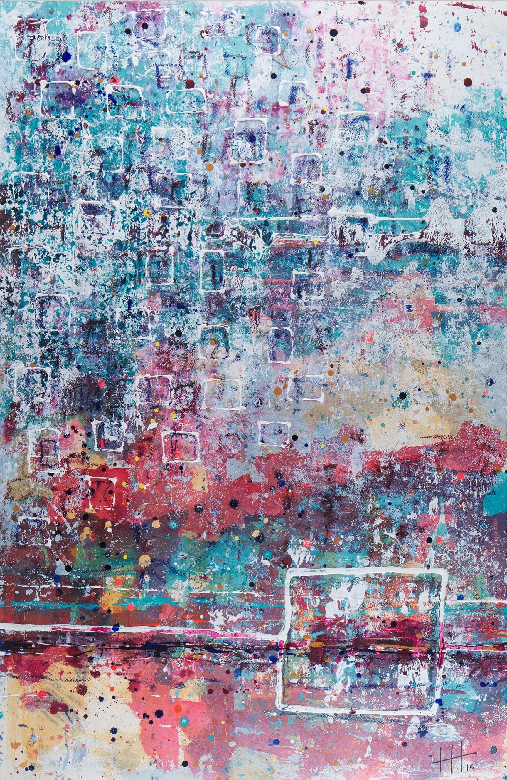 'Urbino Week' Acrylic & Mixed Media /129cm x 93cm (framed) SOLD