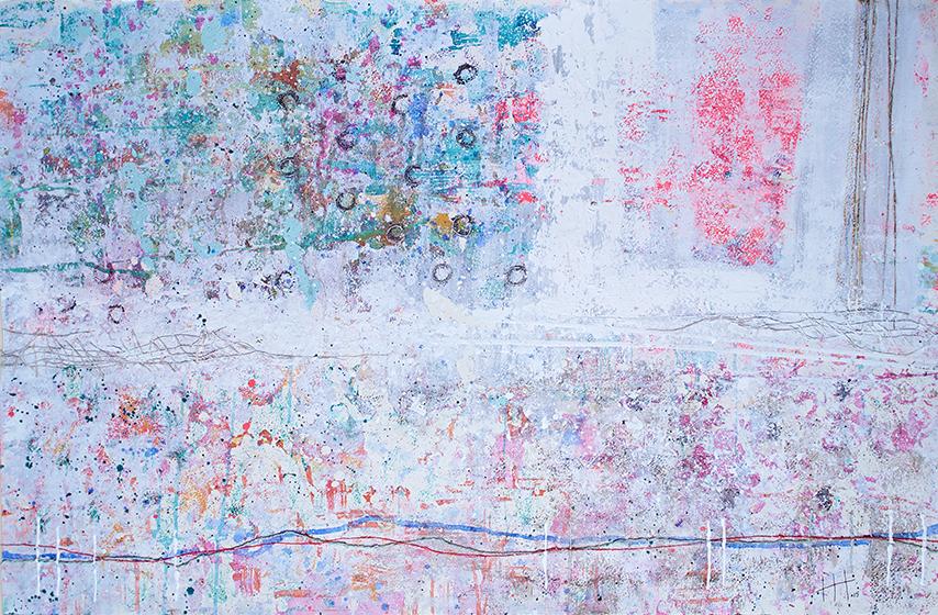 'Untitled'   Acrylic & Mixed Media /  93cm  x 129cm (framed)   SOLD
