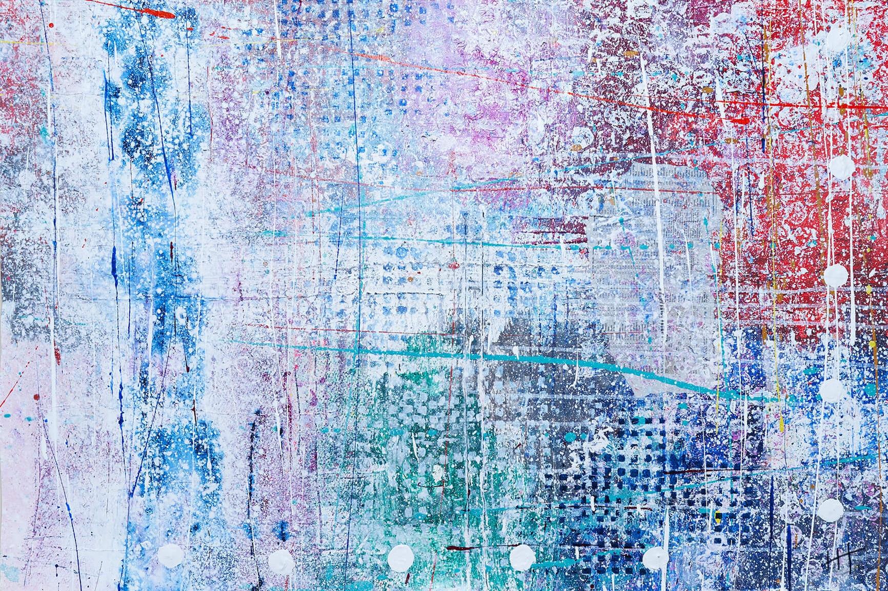 ' Untitled ' Acrylic & Mixed Media /93cm x 129cm (framed) SOLD