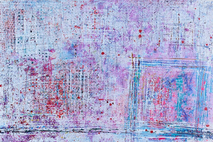 'Stepping Out' Acrylic & Mixed Media /93cm x 129cm (framed) SOLD