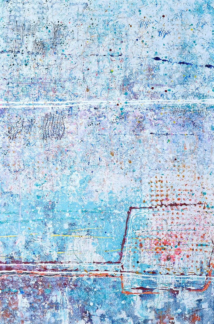 'Untitled' Acrylic & Mixed Media /129cm x 93cm (framed) SOLD