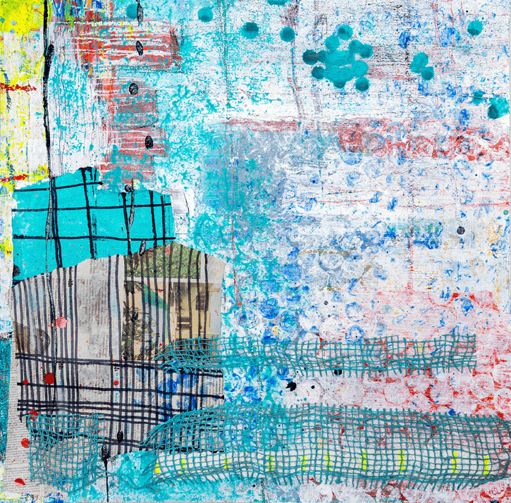 'In Good Time' Acrylic & Collage / 73cm x 73cm (framed) SOLD