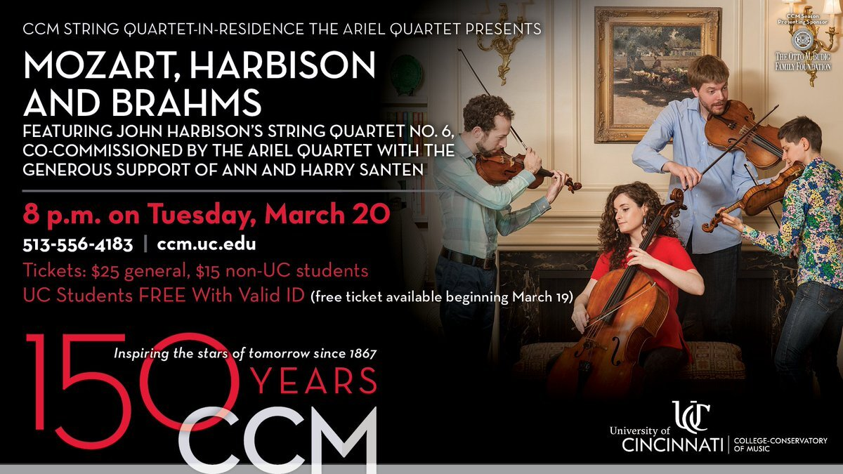 Poster for the premiere performance of John Harbison's String Quartet No. 6