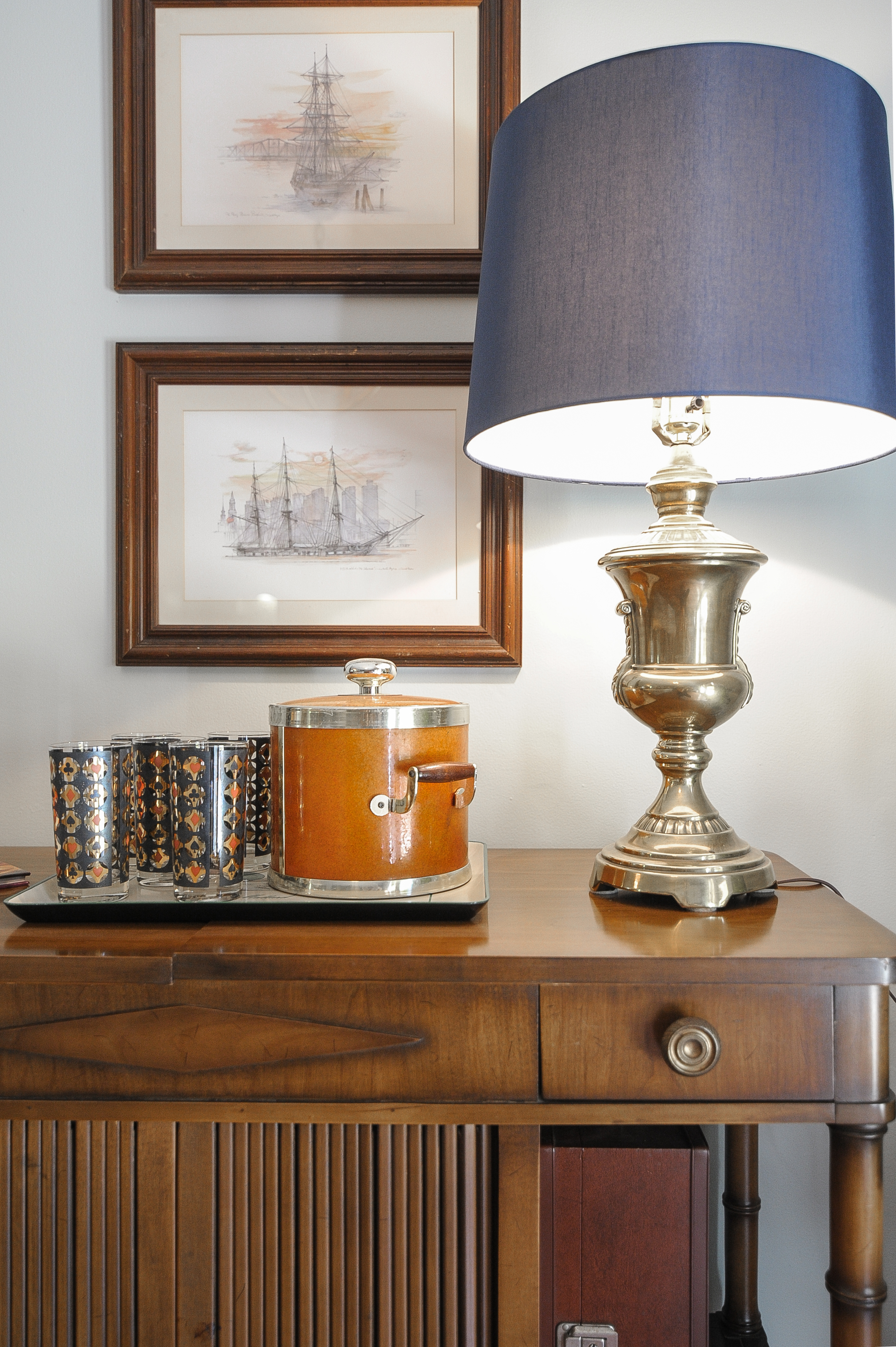 Artful Interiors - Bachelor Pad - Living Room Bar Detail