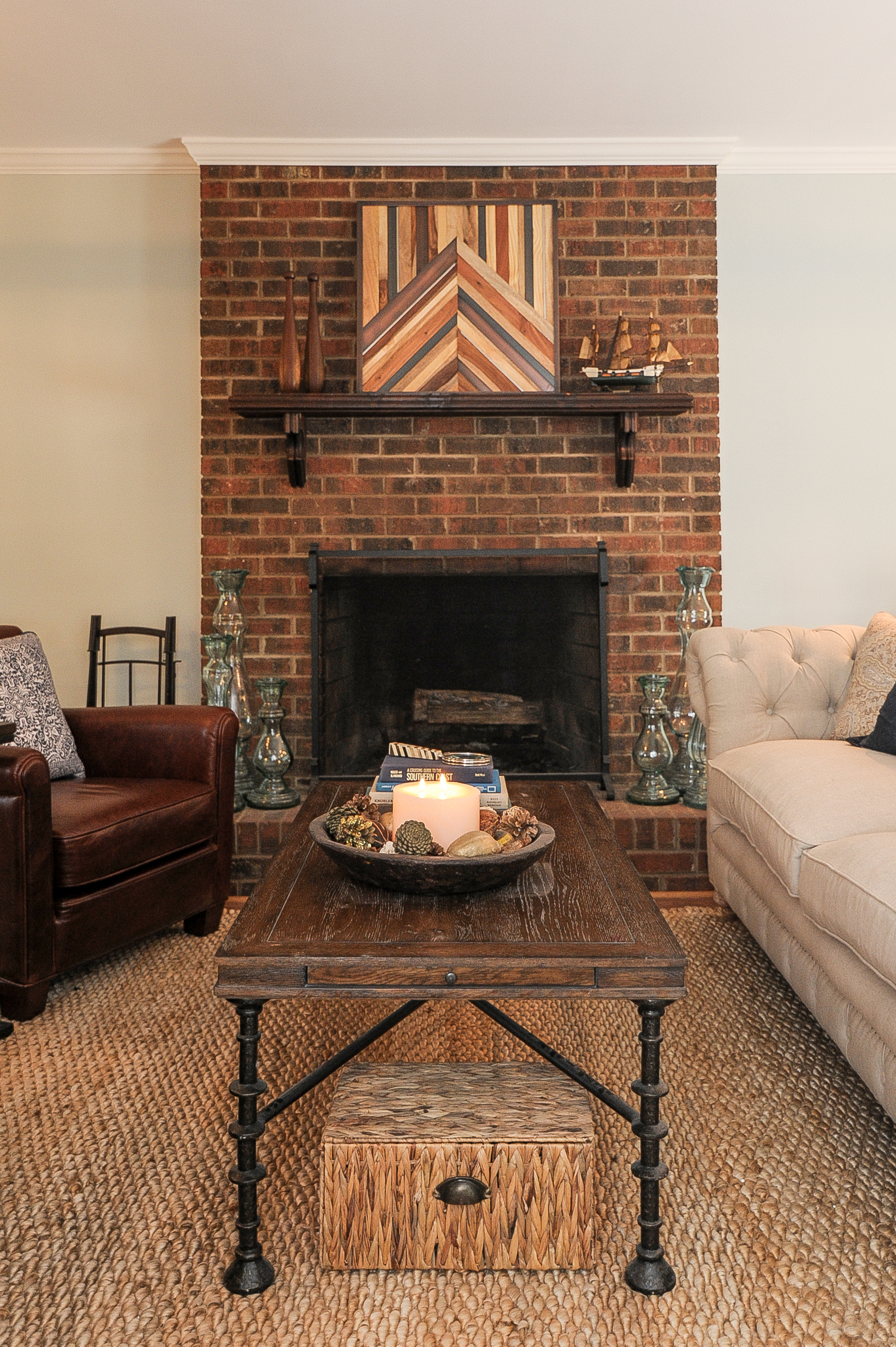 Artful Interiors – Bachelor Pad - Living Room Fireplace