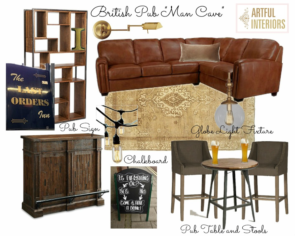 Artful Interiors – Bachelor Pad - Man Cave - Design Board