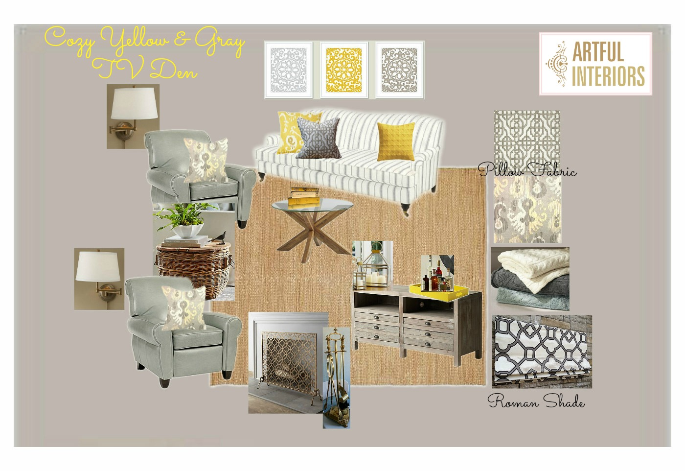 Artful Interiors – Yellow & Gray TV Den - Design Board
