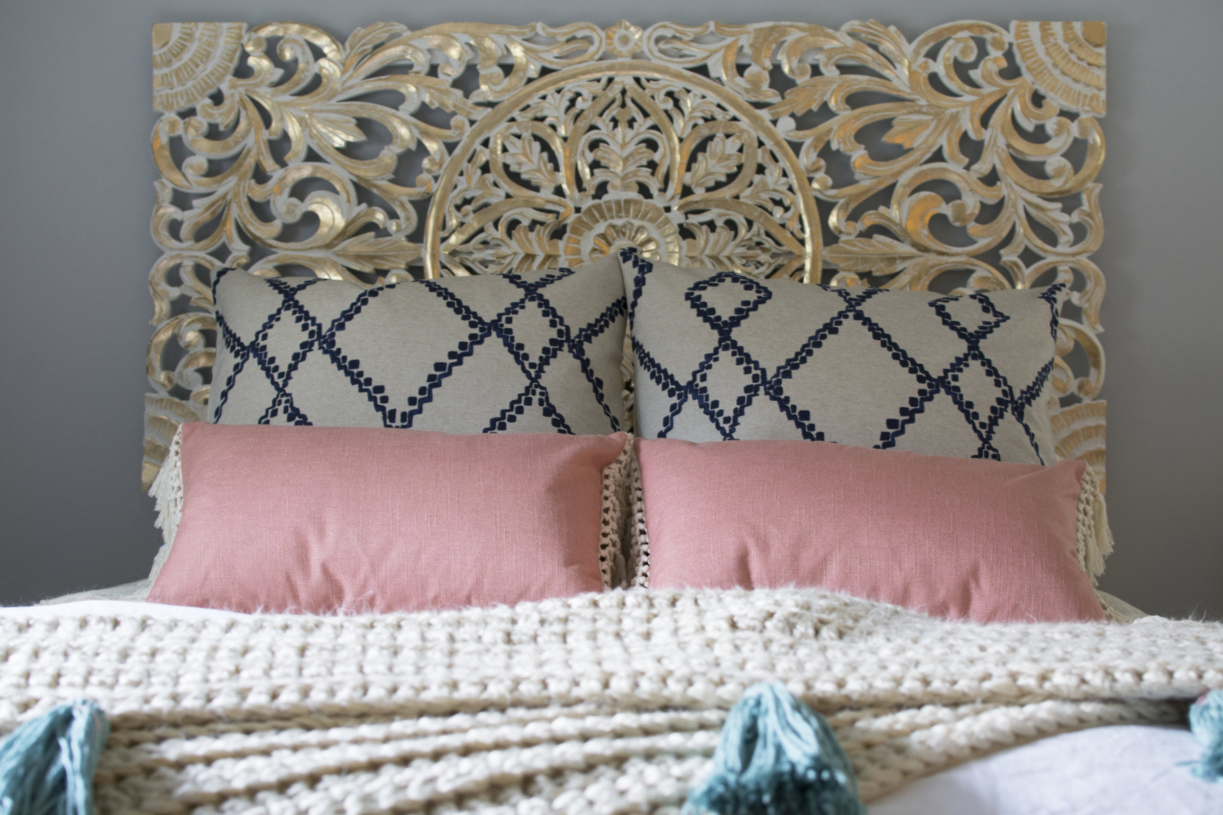 Artful Interiors - Bohemian Bedroom - Gold Headboard