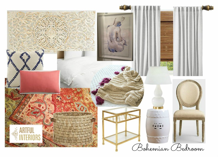 Artful Interiors - Bohemian Bedroom - Design Board