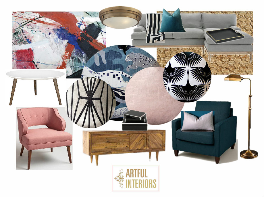 Artful Interiors - Pink and Teal Living Room - Design Board