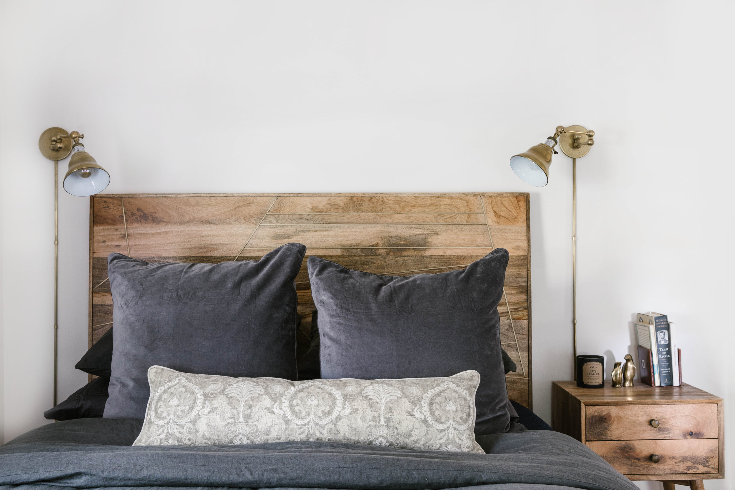 Bachelor Pad Wood and Brass Headboard