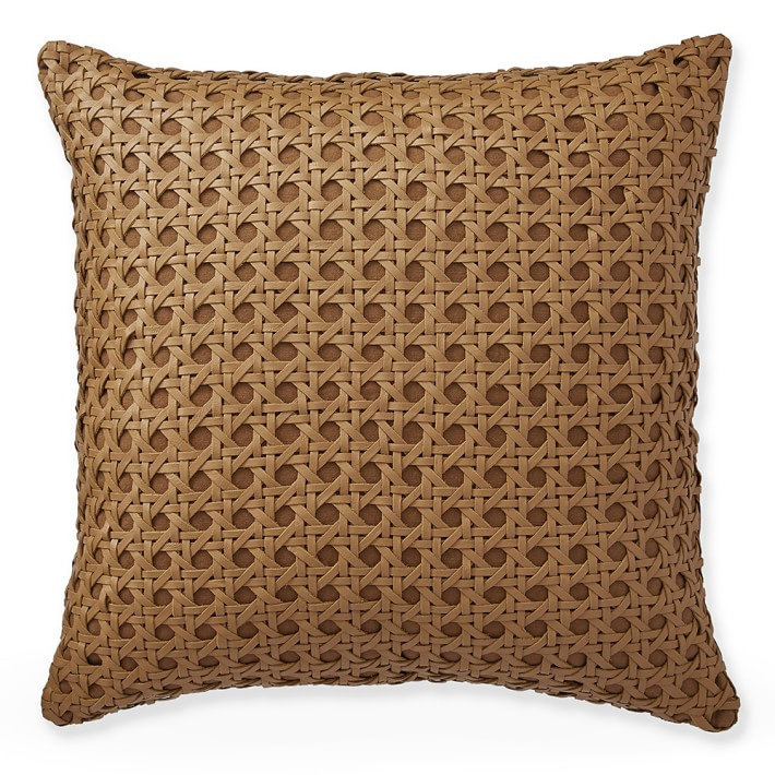 Williams Sonoma Home Cane Woven Leather Pillow