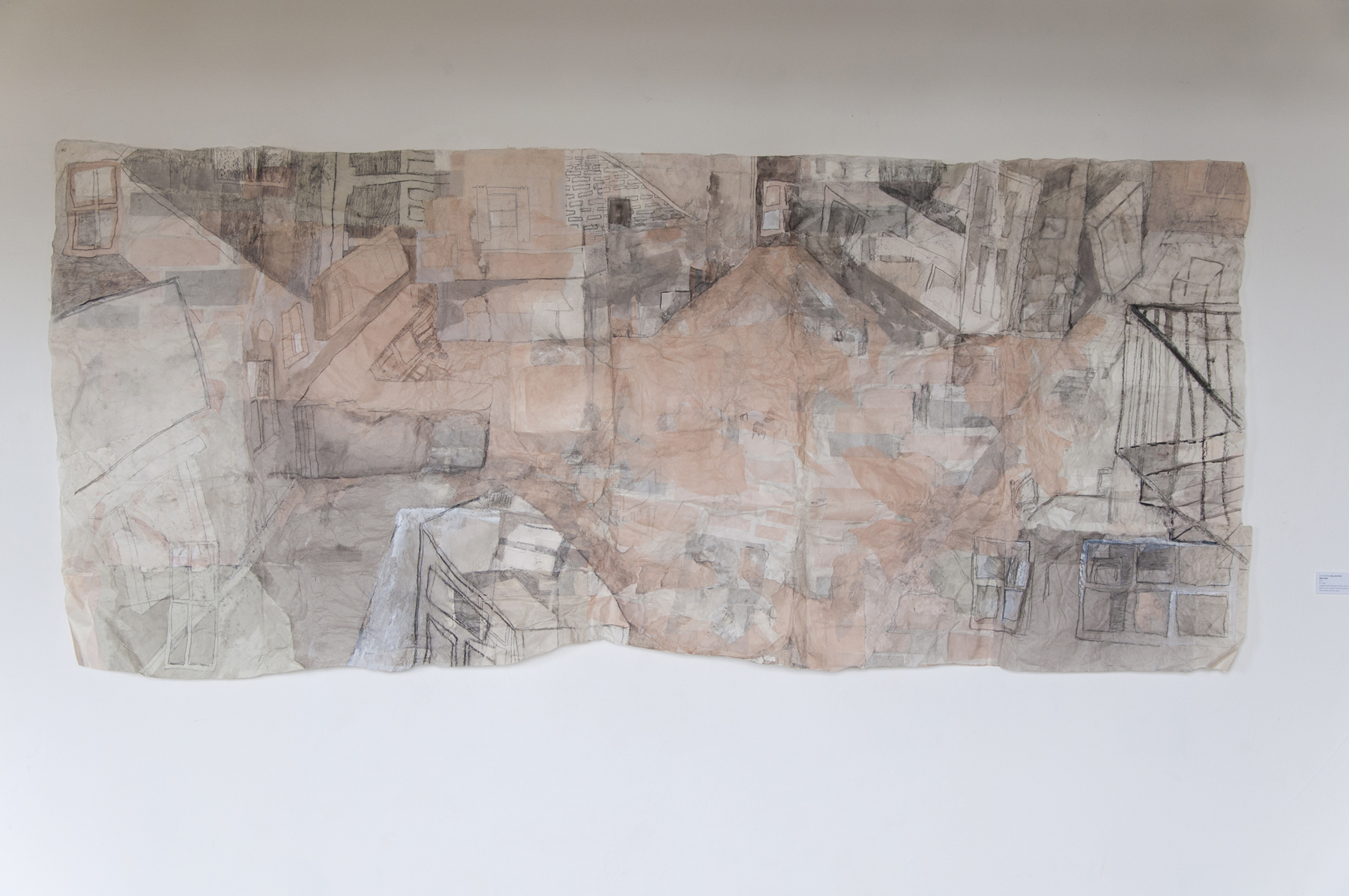 Katherine DeLamater White Table 2015 9 x 4 feet Collaged handmade papers (abaca, cotton rag from father's shirts, bamboo) with ink, graphite, charcoal, china marker, and litho crayon