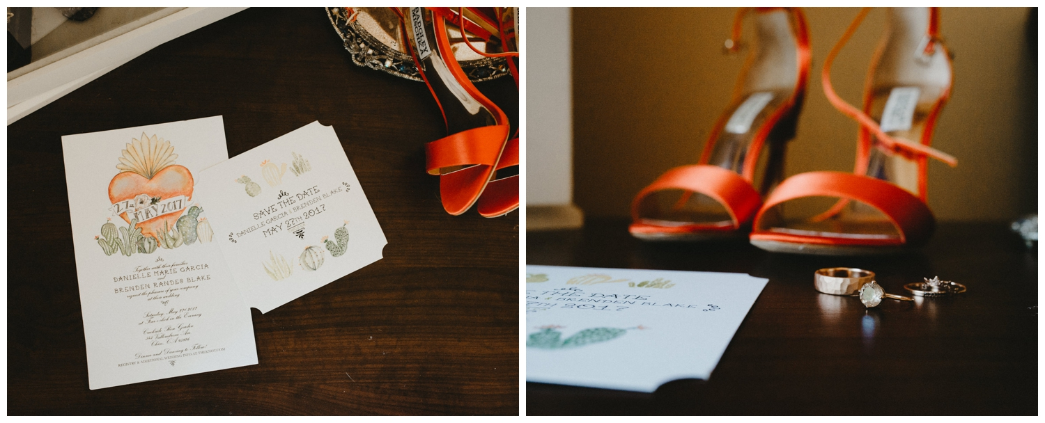 southwestern styled save the date and wedding invitation station