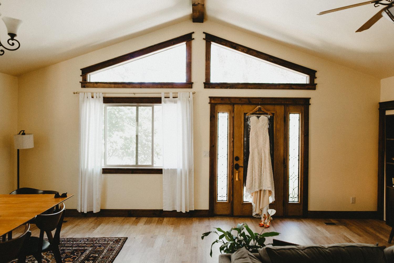 wedding dress in doorway